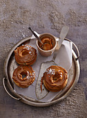 Donut with caramel icing