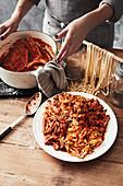 Homemade tagliatelle with pork ribs