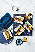Fish finger sandwich with miso and bacon mayonnaise