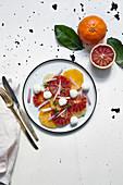 Zitrussalat mit Mozzarella und roten Zwiebeln