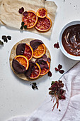 Candied orange slices with chocolate glaze