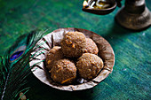 Indian flattened rice jaggery ladoo