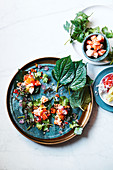 Prawn Miang with betel leaves