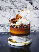 Birthday cake trifle with ganache, chocolate mousse and cocolate crackle