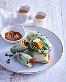 Asian summer rolls with vegetable filling and peanut dip