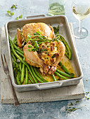 Chicken with nettle stuffing and green beans