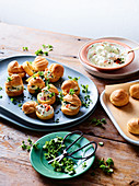 Smoked salmon choux puffs