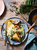 Cheese and porchetta omelettes