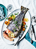 Slow-cooked salmon with peach and lemon thyme