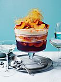 Peach, rosé jelly and custard trifle
