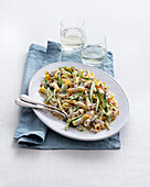 Garganelli with green asparagus and Prosciutto cream