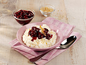 Coconut rice pudding with morello cherries
