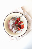 Strawberry yoghurt with strawberries and chia-flax seeds