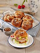 Home-baked pretzel rolls