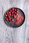 Freeze dried strawberries and fruit powder