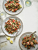 Warm Red Rice Herb and Salmon Salad