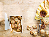 Hazelnut and chocolate cookie sandwiches