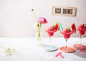 Watermelon prosecco sorbet slushies