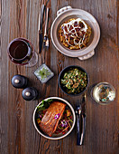 Padron peppers with sweet miso and sesame, Trout teriyaki with pink quinoa, fennel, pomegranate anb cucumber, Braised beef ribs with smoked aubergine and artichoke