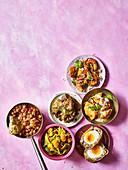 Railway lamb curry, Channa bhatura, Old Delhi-style butter chicken, Malabar prawns, Bengali scotch eggs, Squash and cabbage sabzi