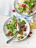 Jerusalem artichoke salad with raspberries
