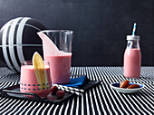 Raspberry and banana shake with Greek yogurt and dates
