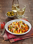 Penne alla Puttanesca with anchovies, olives and capers