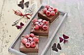 Vegan chocolate and nut slices with chocolate ganache and raspberries