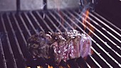 Beef steak on hot grill