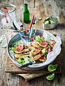 Barbecued prawns with chilli lime dressing