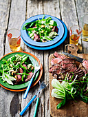 Beef steak with cashew nam jim and asian greens