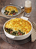 Kale gratin with hash browns crust