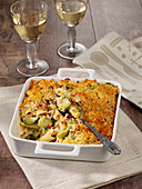 Pasta bake with Brussels sprouts, bacon and a crust of crumbs