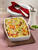 Schupfnoodle casserole with ham, mushrooms, corn and bell pepper