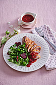 Duck breast with orange and cranberry sauce
