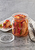 Hot and spicy marinated sausages