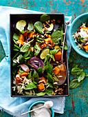 Roast pumpkin, zucchini and risoni salad