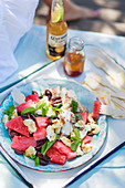 Za'atar chicken with haloumi and watermelon salad