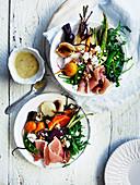 Jamon and vegetable salad with horseradish dressing