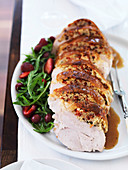 Turkey with strawberry and cherry salad