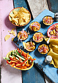 Vegetable sticks and Tex-Mex corn-chili dip with cheese