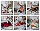Preparing beetroot and salt cured salmon with root vegetable slaw