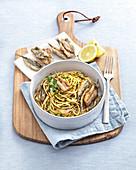 Spaghetti with fried anchovies, pecorino cheese and chilli