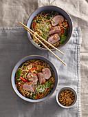 Odorous pork tenderloin with Chinese egg noodles
