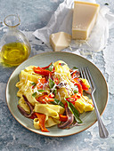 Pasta with baked red pepper and anchovies