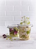 Pickled cauliflower, red onions and zucchini