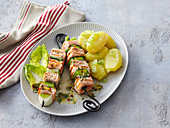 Salmon and leek shashlik