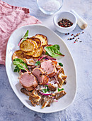 Pork tenderloin, potato dumplings and mushroom ragout