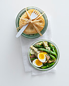 Green asparagus salad with artichoke hearts and quail's eggs
