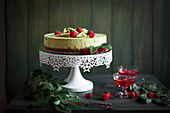 Green matcha tea cheesecake